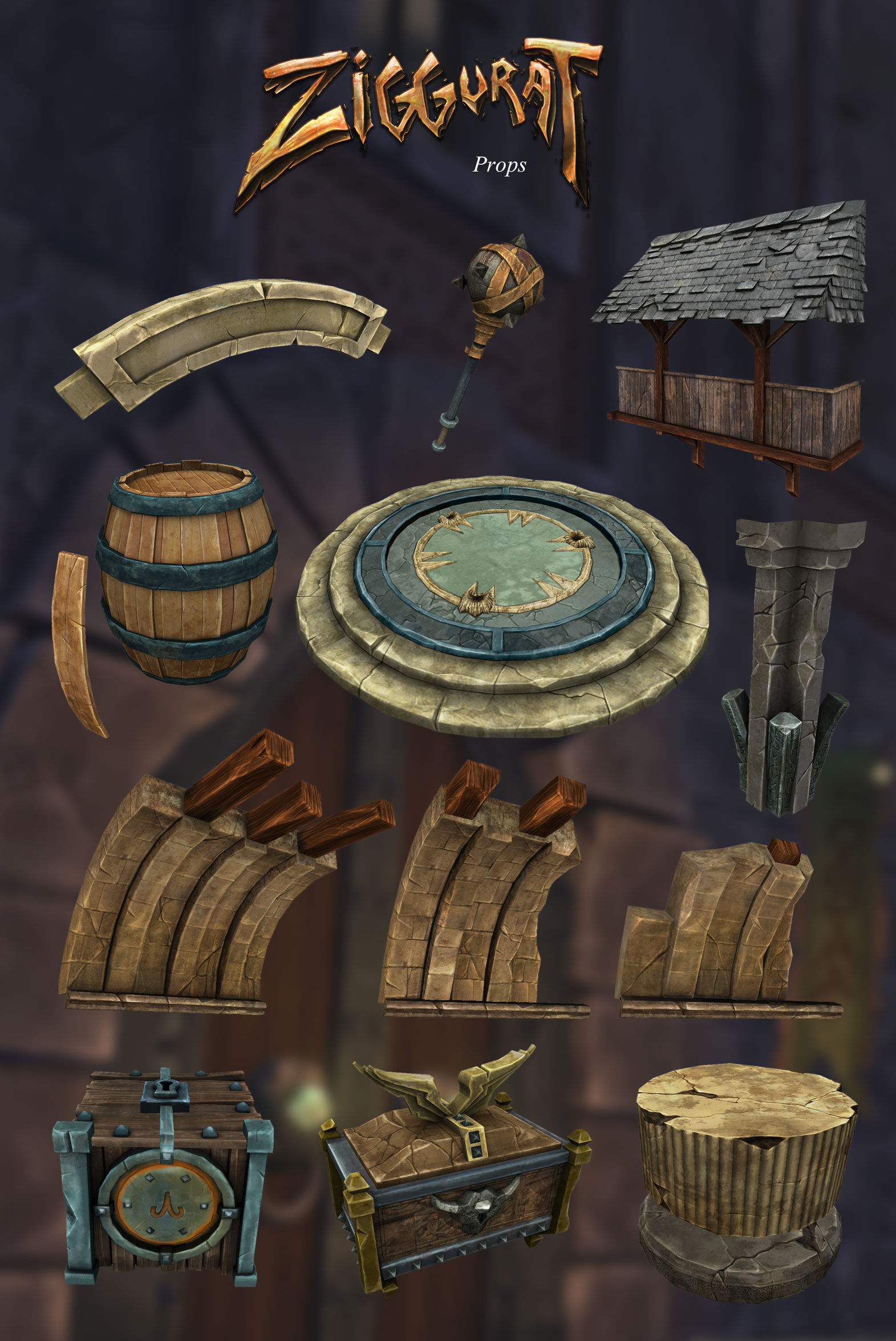 Ziggurat props: concept, modeling and texturing.